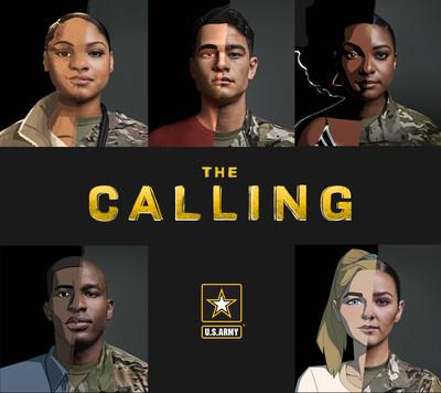 """Imagenes de los cinco soldados que aparecen en la serie animada, """"The Calling."""" Imagenes mezcladas con sus dibujadas."""