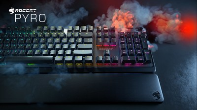 The new ROCCAT Pyro Mechanical Gaming Keyboard with RGB Lighting boasts mechanical switches with responsive keystrokes. a detachable palm rest and a brushed aluminum top plate.