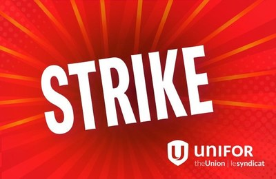 Photo of strike image from Unifor in red background. (CNW Group/Unifor)