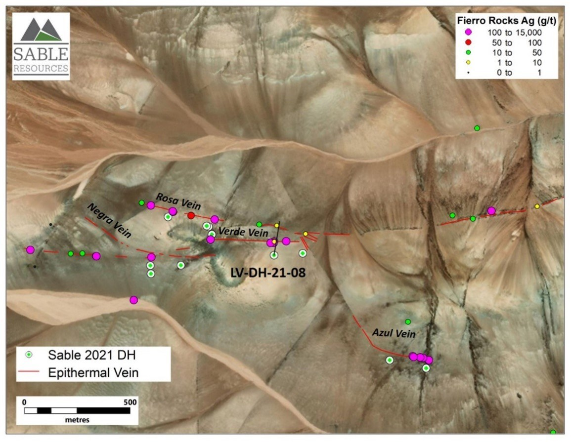 Figure 2. Detailed location of hole LV-DH-21-08 at La Verde Zone (CNW Group/Sable Resources Ltd.)
