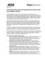Atco Announces 90% GHG Emissions Reduction in 2020 Sustainability Report (CNW Group/ATCO Ltd.)