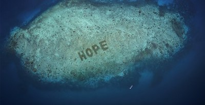 SHEBA Hope Reef, which can be seen on Google Earth, has been regrown to spell the word 'HOPE' to drive awareness and show how positive change can happen within our lifetime; Salisi' Besar, Indonesia; AUG 2020
