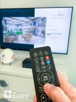 Enseo's room control and energy management system, Fido®, allows residents the Atria Newport Beach senior living community in southern California to easily and safely navigate their own environments by controlling the TV, lights, window shades and thermostat from the TV remote.