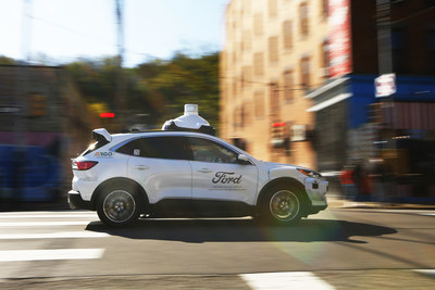 Argo AI self-driving test vehicle with Argo Lidar in Pittsburgh, PA.