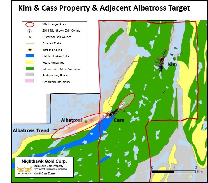 Plan View of the Kim & Cass Property - Historical and NHK 2014 Drill Collar Locations and 2021 Target Areas (CNW Group/Nighthawk Gold Corp.)