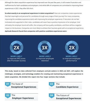 Sneak peek of Part One of the Exceptional Experiences Research Report, written in partnership with Aptitude Research, Talent Board, and Symphony Talent