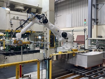 Robots used in manufacturing process at LG Electronics air conditioner plant in Saudi Arabia