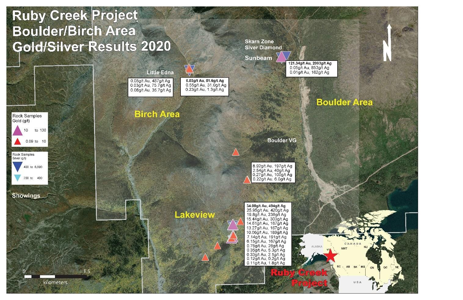 Figure 2 - Gold & Silver Rock Sample Results, Southwest Property Area (CNW Group/Stuhini Exploration Ltd.)