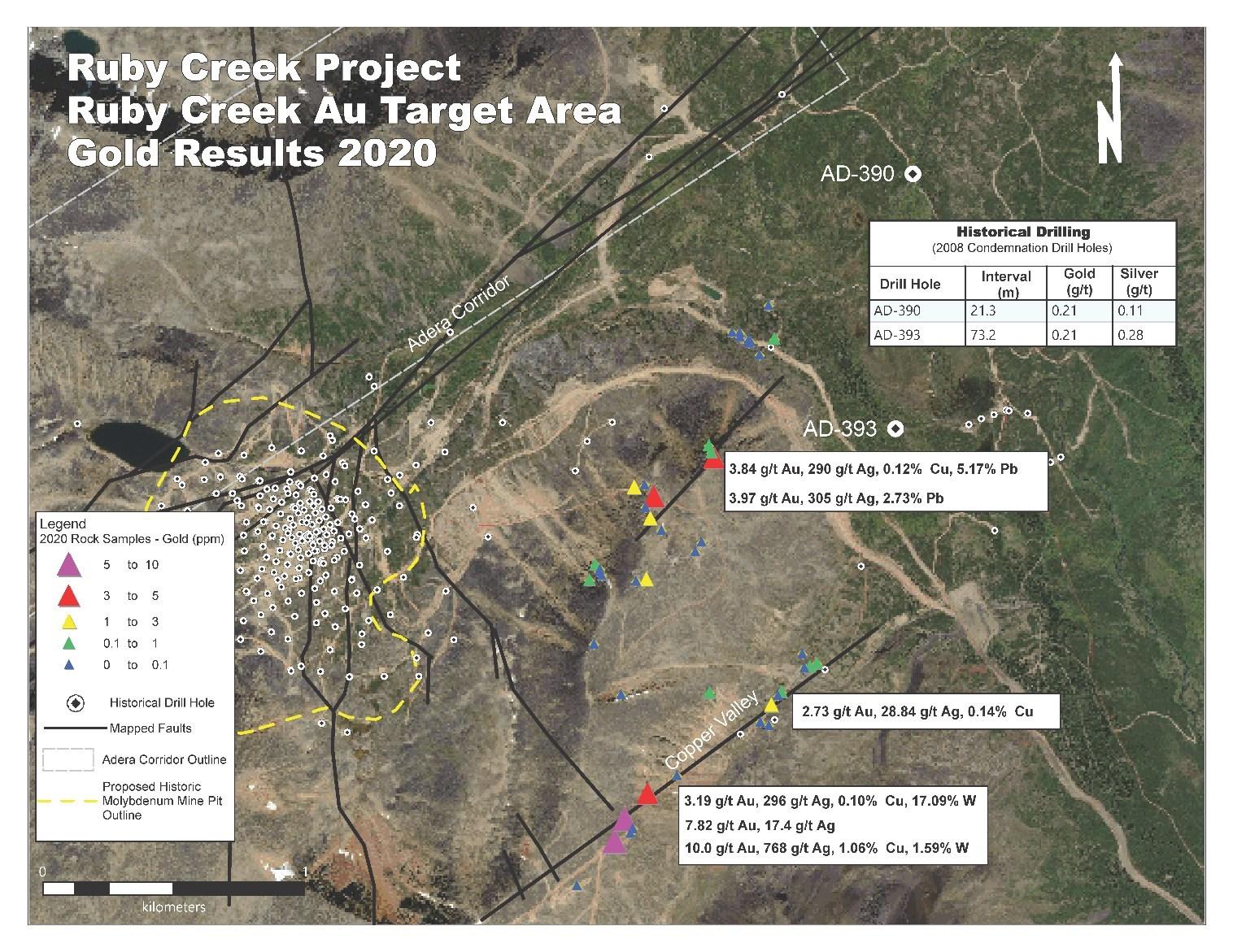 Figure 4 – Select Gold & Silver Rock Sample Results, Ruby Creek Au Target Area (CNW Group/Stuhini Exploration Ltd.)