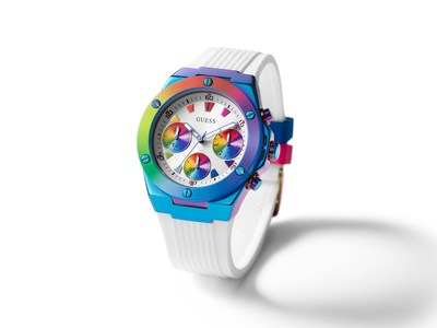 The GUESS Watches #WornWithPride collection's Signature style features an iridescent blue plating 40mm case and rainbow printed top ring on a smooth white silicone strap