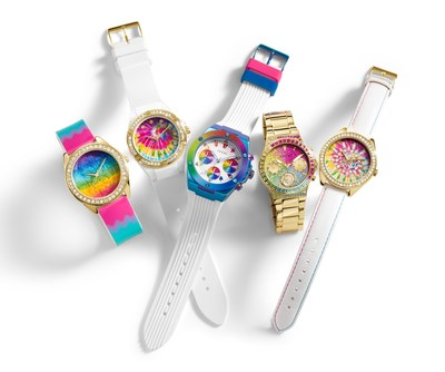 The GUESS Watches #WornWithPride collection hosts a colorful explosion of rainbow glitter accents and multi-color patterned dials. Each offering a meaningful expression when worn with pride on the wrist.