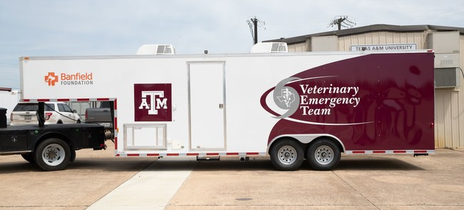 This is the first VET vehicle designed for evacuation of animals, which will add a new dimension of response capability. Fully funded by a grant from the Banfield Foundation, the trailer was custom designed by VET based on unique needs and insights from prior deployments. Along with 44 kennels, it features an onboard generator, two rooftop air conditioning units, a 30-gallon freshwater tank, and exterior flood lights that will allow the vehicle to be used in any conditions.