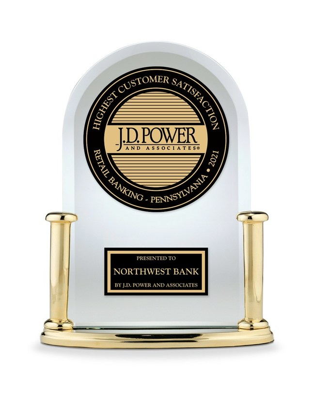Northwest Bank named Highest Customer Satisfaction with Retail Banking in Pennsylvania by J.D. Power.