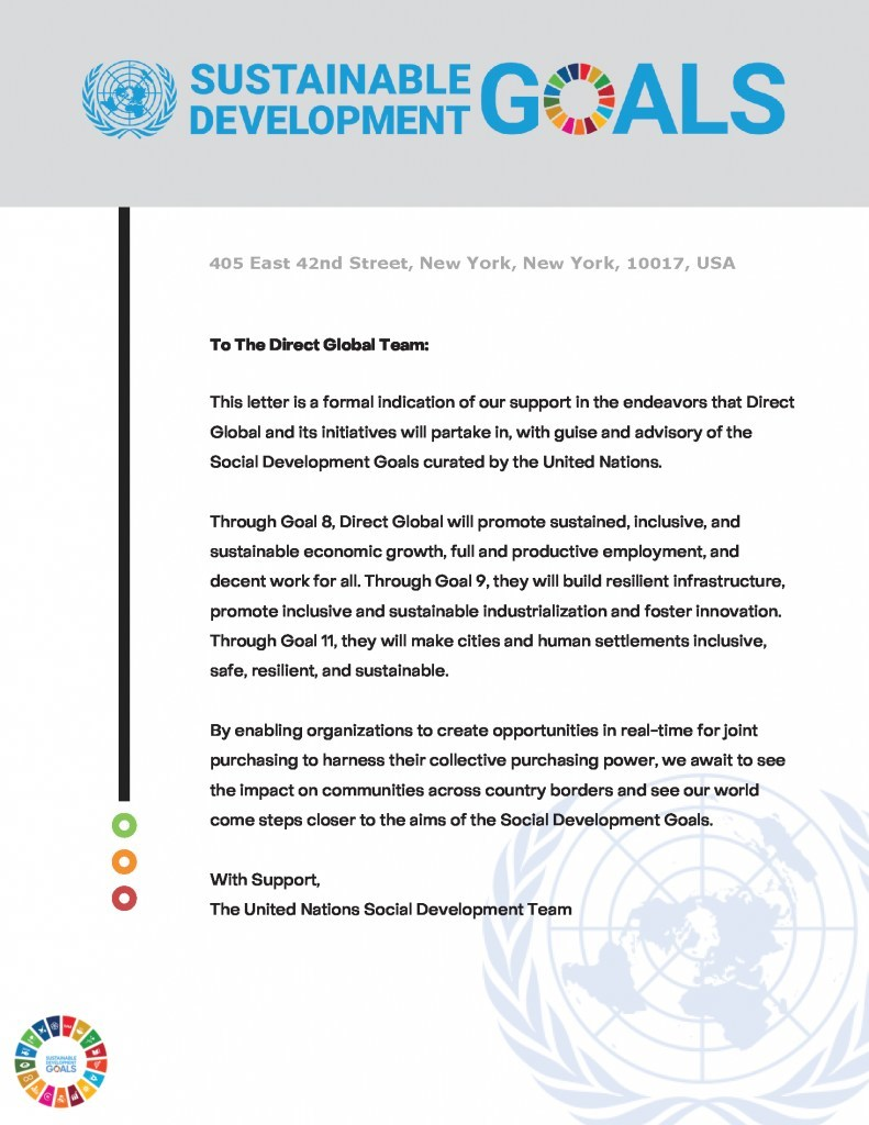 United Nations Announces its Support of Direct Global and its Sustainable Development Initiatives