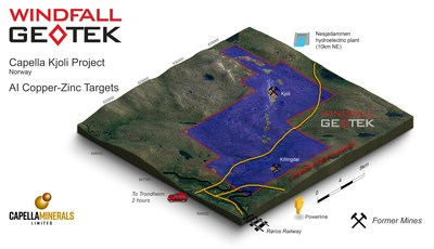 Figure 1. Copper-zinc targets identified from CARDS AI analysis at Kjøli. (CNW Group/Capella Minerals Limited)