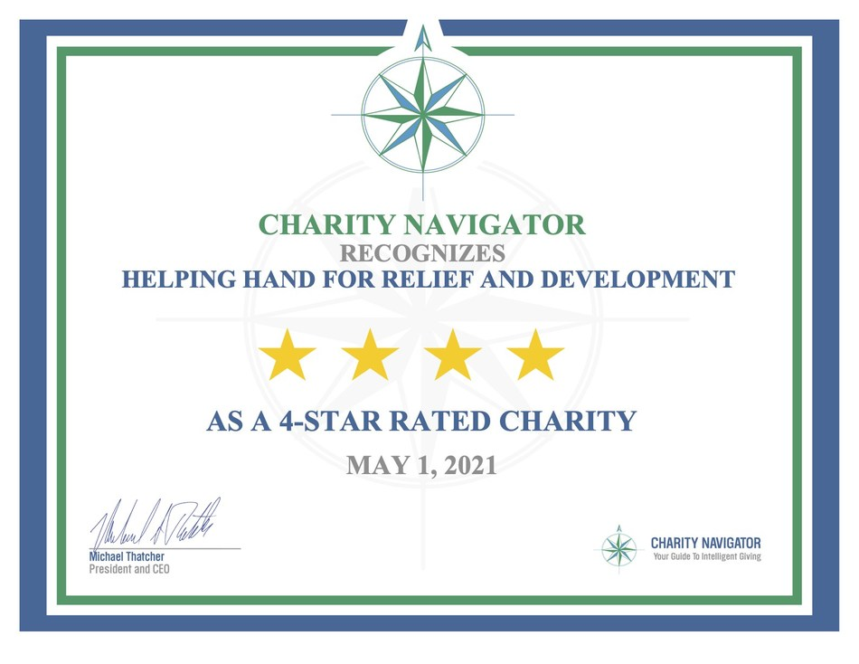 Charity Navigator awards Helping Hand for Relief and Development its highest 4-star rating for the 10th consecutive year.