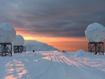The OneWeb gateway in Svalbard, Norway, capable of 10,000 hand-offs per second, is one of the gateways developed by Hughes that will orchestrate handover and tracking of gigabits of data for NORTHCOM. Photo Credit: OneWeb/Kongsberg Satellite Services (KSAT).