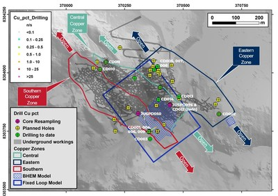 Figure 1 Diamond drill program with current hole status and locations of historical JUSPD collars from resampling program. (CNW Group/Meridian Mining S.E.)