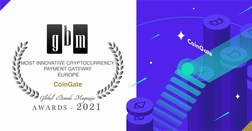 CoinGate announced as the Most Innovative Cryptocurrency Gateway in Europe 2021 (PRNewsfoto/CoinGate)