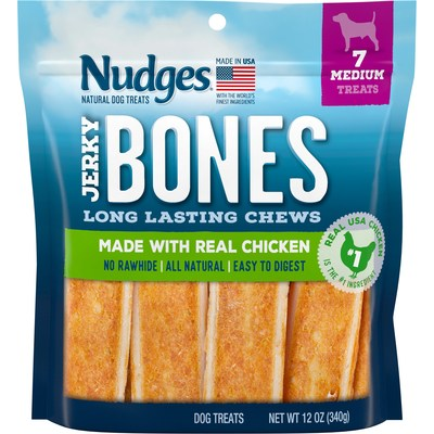 Nudges® Jerky Bones are made with real chicken featuring a savory chicken coating wrapped around a durable core of real protein designed to keep your furry friend occupied longer.  Available this May in a medium treat size offering with seven treats per pouch.