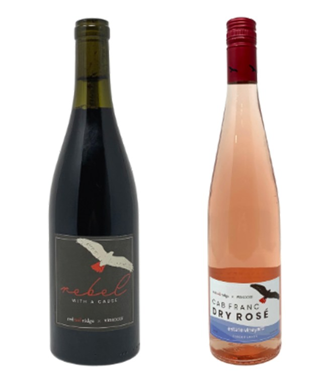 'Rebel with a Cause' Red Blend and 'Cab Franc Estate Rosé' by Vin Social and Red Tail Ridge Winery.