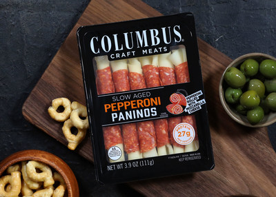 Introducing COLUMBUS® Pepperoni Paninos. Made with select cuts of pork and a proprietary blend of spices, this six-pack of dry-cured and slow-aged premium pepperoni rolled with mozzarella cheese is the latest extension of the brand's entertaining-product offerings.