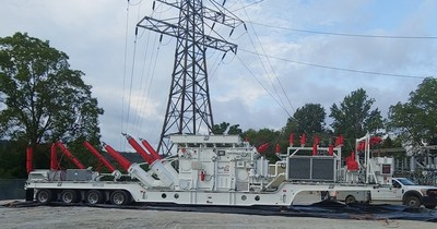 Hydro One's Mobile Transformer Unit at Newton Transformer Station will keep customers energized during repairs. (CNW Group/Alectra Utilities Corporation)