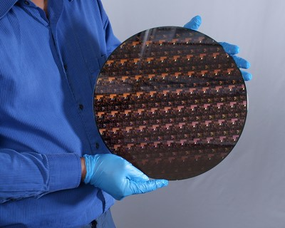 A 2 nm wafer fabricated at IBM Research's Albany facility. The wafer contains hundreds of individual chips. Courtesy of IBM