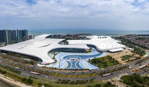 An aerial photo taken on April 30, 2021, shows the Hainan International Convention and Exhibition Center in Haikou, South China's Hainan province. [Photo/New Hainan App]