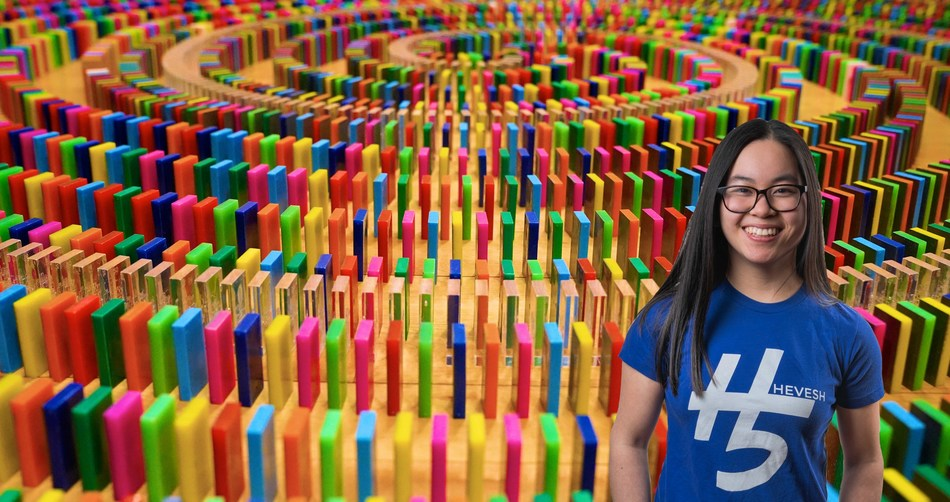 Domino artist and YouTube influencer Lily Hevesh (@Hevesh5) with her latest creation. Launched to support the call for fairer vaccine distribution worldwide, in collaboration with global charitable foundation Wellcome and partners UNICEF and GAVI. Watch the dominoes topple at https://www.youtube.com/watch?v=ugbX9uF6-x0
