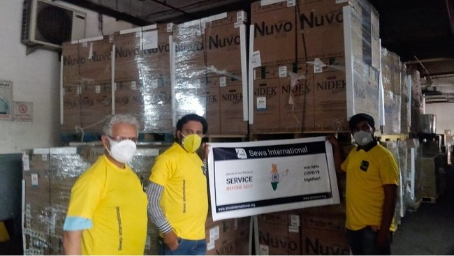 Pic: Members of the Sewa International India Team with Oxygen Concentrators Received from the US