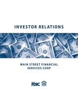 Main Street Financial Services Corp Reports First Quarter Year To ...