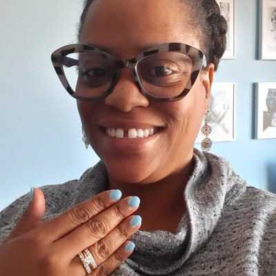 """""""The busy life of a working mom and wife can get quite overwhelming. But, my newly returned self-care routine of getting a manicure every two weeks has allowed me to escape and pause from my busy life for a moment of pampering. It also provides an outlet for self-expression - this time with sky blue nails!"""" - A CVN staff member shares a #SelfieForSelfCare."""