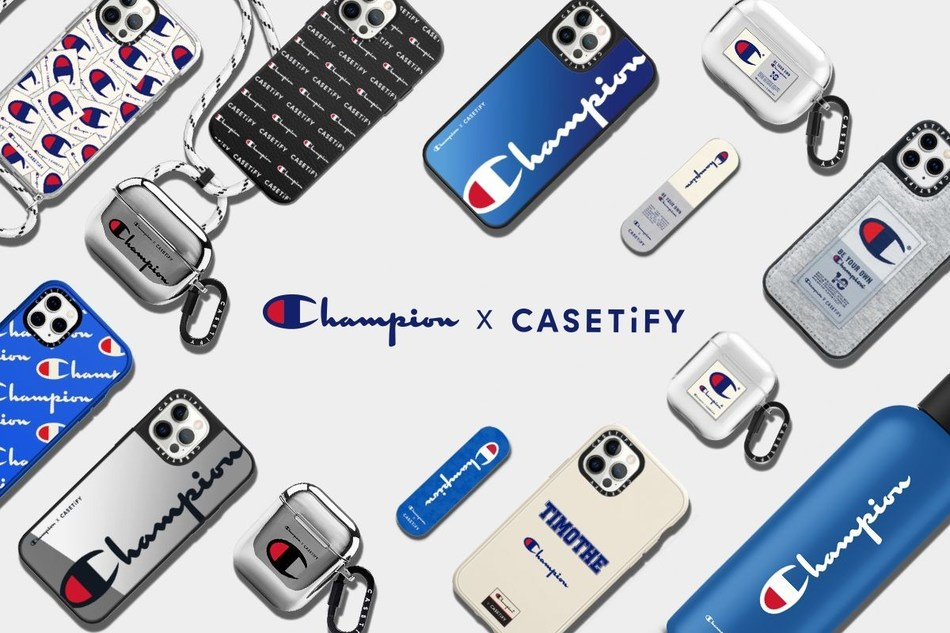 The collaboration brings Champion's iconic aesthetic to limited-edition lifestyle accessories