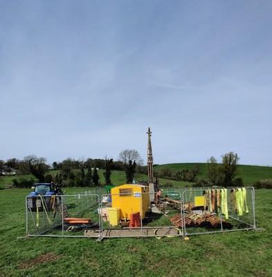 Adventus Mining drilling at the Kingscourt project, 10 km north of the Navan Mine (Tara Mine) (CNW Group/Adventus Mining Corporation)