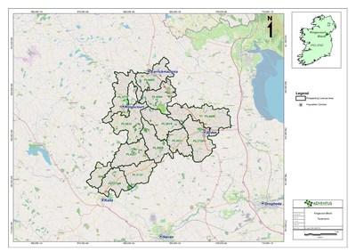 Figure 1: Prospecting licenses location map, Kingscourt block (CNW Group/Adventus Mining Corporation)
