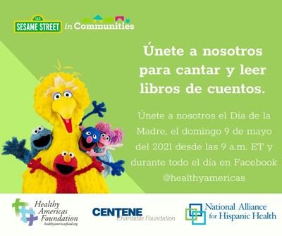 En celebración del Día de la Madre, únase a nosotros para cantar con Sesame Street en las Comunidades, leer un cuento, bailar y ejercitarse