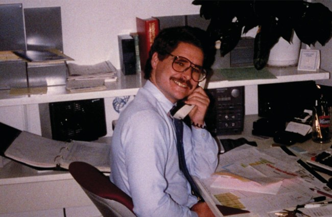 Brian on the phone at The Schraff Group in the early 80's.