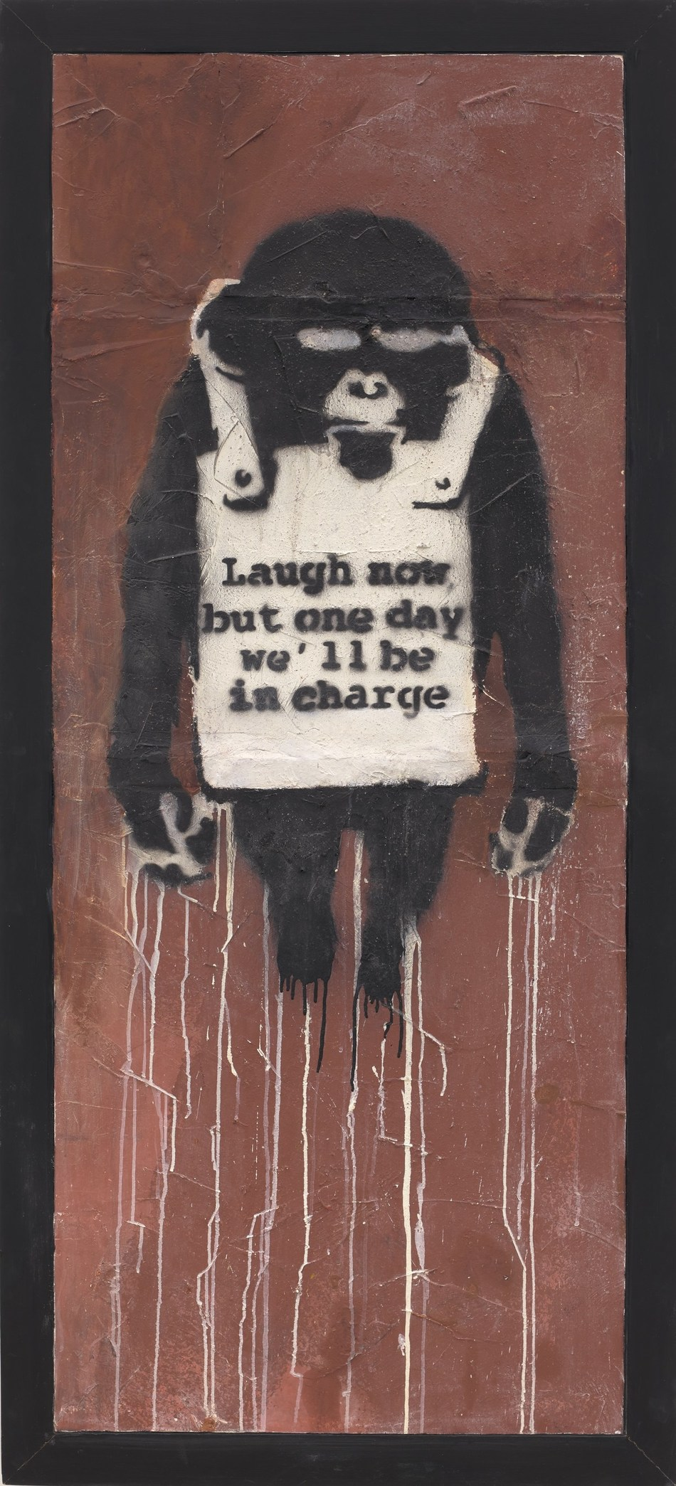 Banksy Laugh Now Panel A, 2002 spray paint and emulsion on dry wall, 178.5 x 74 cm. Estimate: HK$22,000,000 – 32,000,000/ US$ 2,820,000 - 4,100,000