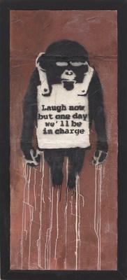 « Laugh Now Panel A », 2002, par Banksy. Peinture en aérosol et émulsion sur cloison sèche, 178,5 x 74 cm. Valeur estimée : entre 22 000 000 et 32 000 000 $ HKD/entre 2 820 000 et 4 100 000 $ US. (PRNewsfoto/Phillips)