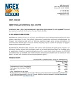 NGEx Minerals Reports Q1 2021 Results