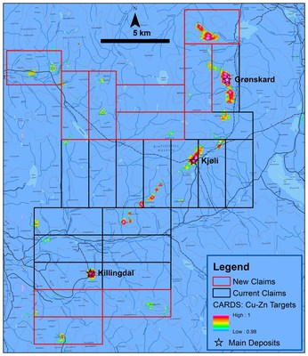 Figure 1. Kjøli property expansion covers 11 new copper-zinc targets. (CNW Group/Capella Minerals Limited)