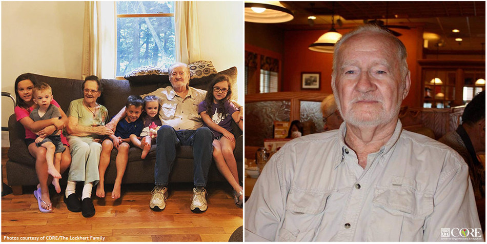 Caption: Cecil F. Lockhart died at age 95 on May 4, 2021, becoming the oldest organ donor in U.S. history.  (Left: Cecil pictured with wife of 75 years, Helen, and five of his six great-grandchildren. Right: Cecil F. Lockhart.)