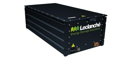 Un pack de batteries lithium-ion Leclanché, similaire à celui utilisé dans le projet de locomotive à hydrogène de Canadien Pacifique, pour alimenter les moteurs de traction électriques de la locomotive.