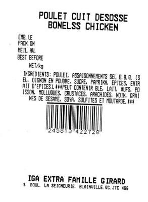 Poulet cuit désossé (Groupe CNW/Ministère de l'Agriculture, des Pêcheries et de l'Alimentation)