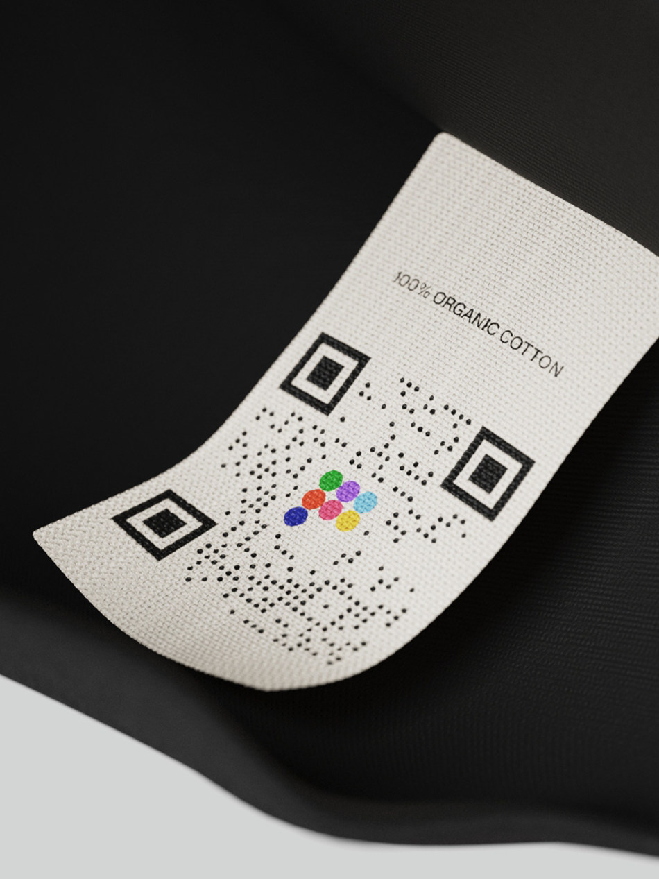 PANGAIA label with EON QR code
