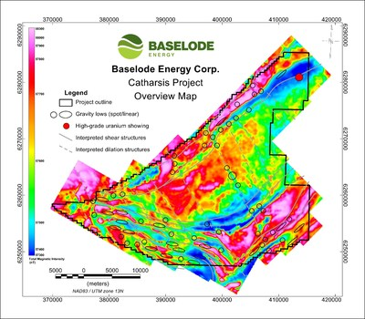 Figure 1: Structural geology interpretation with gravity low targets over magnetics background (CNW Group/Baselode Energy Corp.)