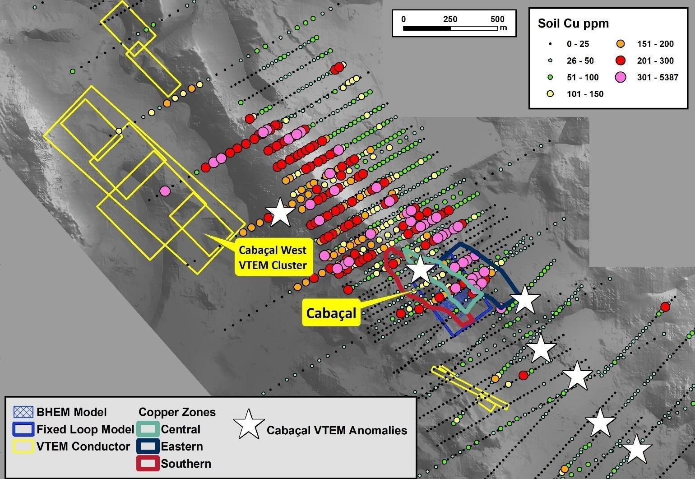 """Figura 2: Cabaçal - Área Cabaçal Oeste: Cobre en anomalías del suelo (abiertas hacia el oeste) asociadas con las anomalías VTEM de alta amplitud (polígonos amarillos) y respuestas de """"estilo Cabaçal"""" recién modeladas (estrellas blancas).  (Grupo CNW / Meridian Mining SE)"""