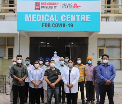 Medical Team of Chandigarh University at the CU-COVID Facility at Gharuan established by CU and District Administration Mohali