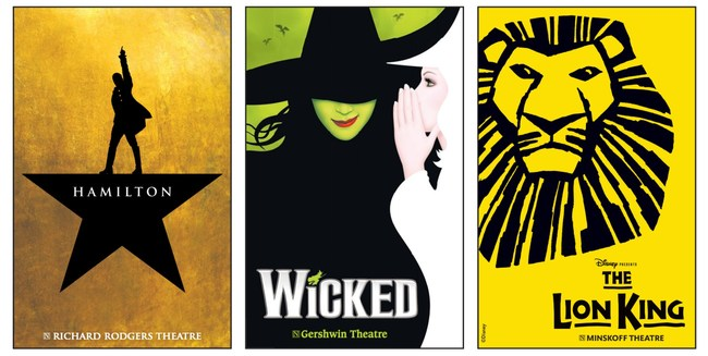Key art for Broadway's 'Hamilton,' 'Wicked,' 'The Lion King'